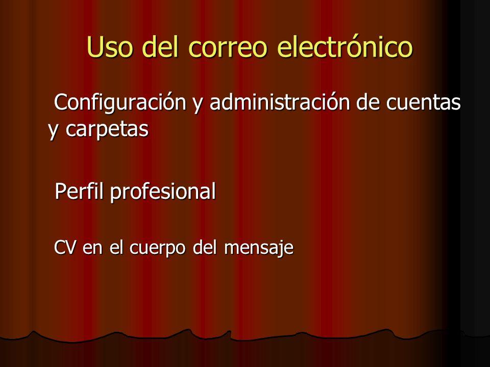 Uso del correo electrónico Uso del correo electrónico Configuración y administración de cuentas y carpetas Configuración y administración de cuentas y carpetas Perfil profesional Perfil profesional CV en el cuerpo del mensaje