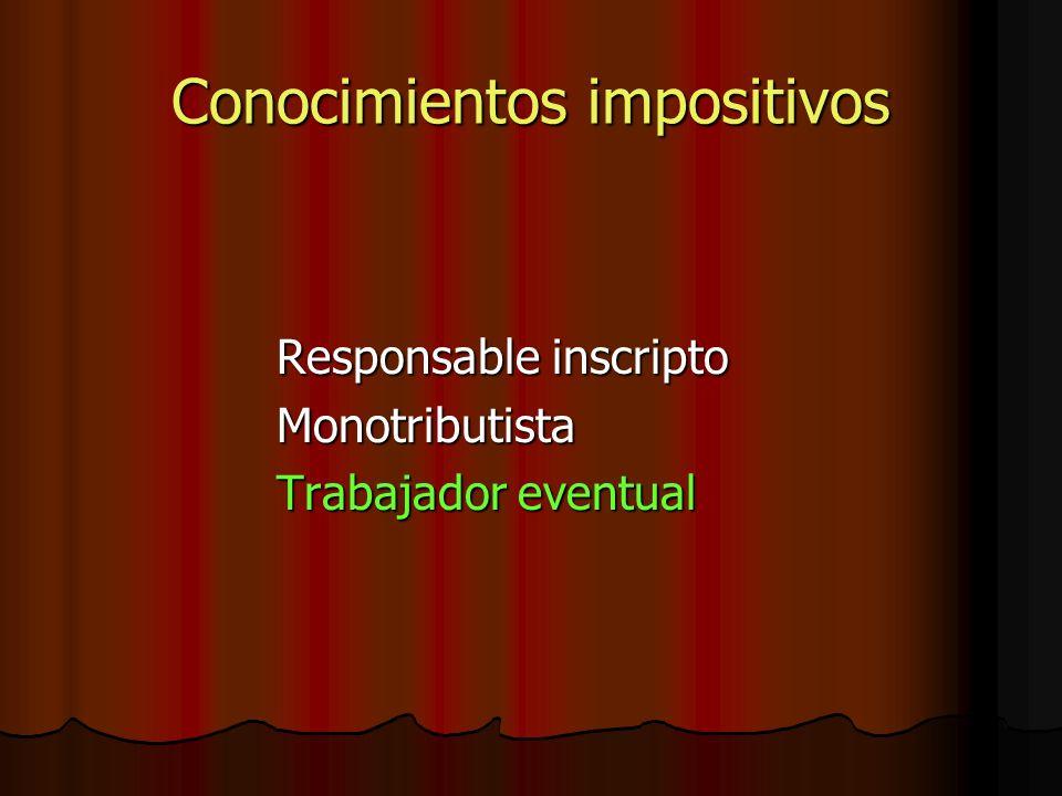 Conocimientos impositivos Responsable inscripto Monotributista Trabajador eventual