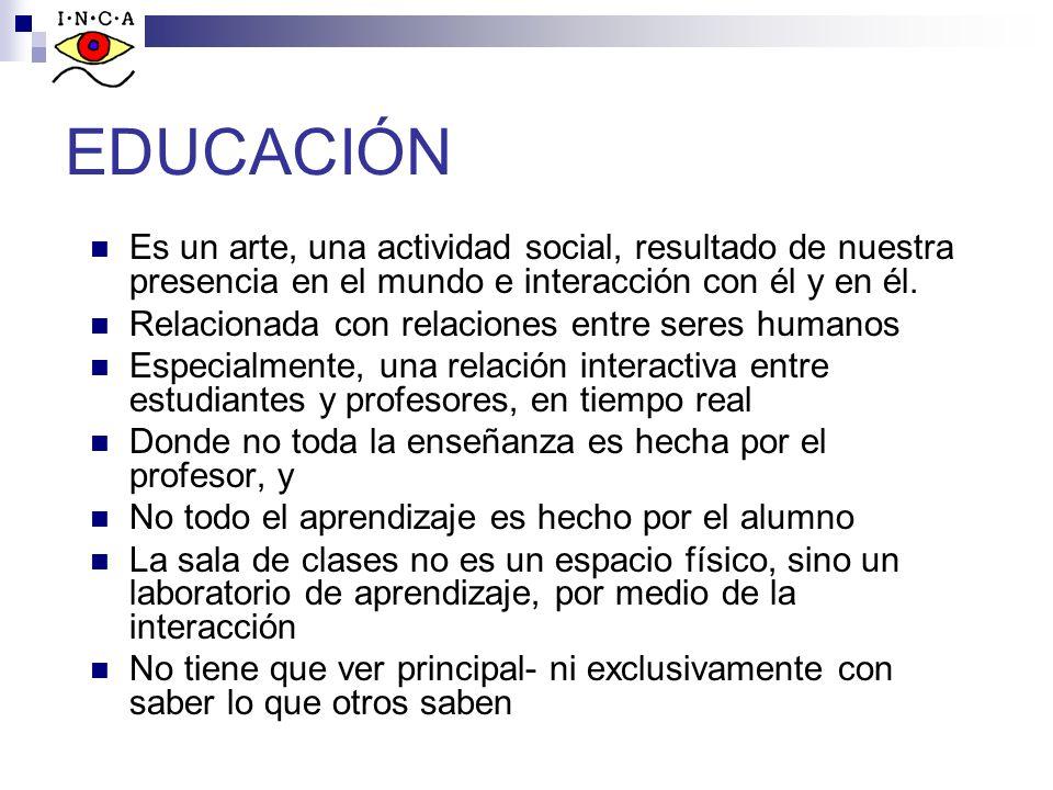 EDUCACIÓN Es un arte, una actividad social, resultado de nuestra presencia en el mundo e interacción con él y en él. Relacionada con relaciones entre