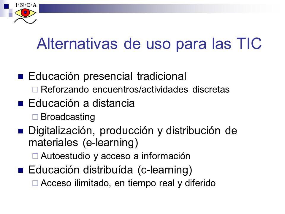 Alternativas de uso para las TIC Educación presencial tradicional Reforzando encuentros/actividades discretas Educación a distancia Broadcasting Digit
