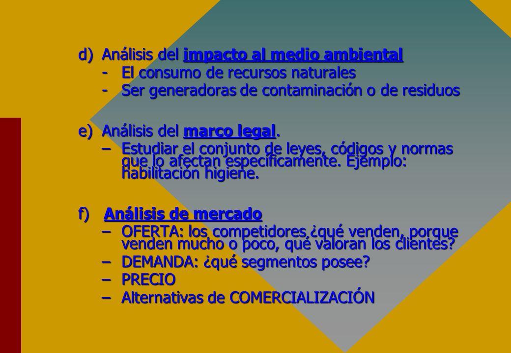 d)Análisis del impacto al medio ambiental -El consumo de recursos naturales -Ser generadoras de contaminación o de residuos e)Análisis del marco legal