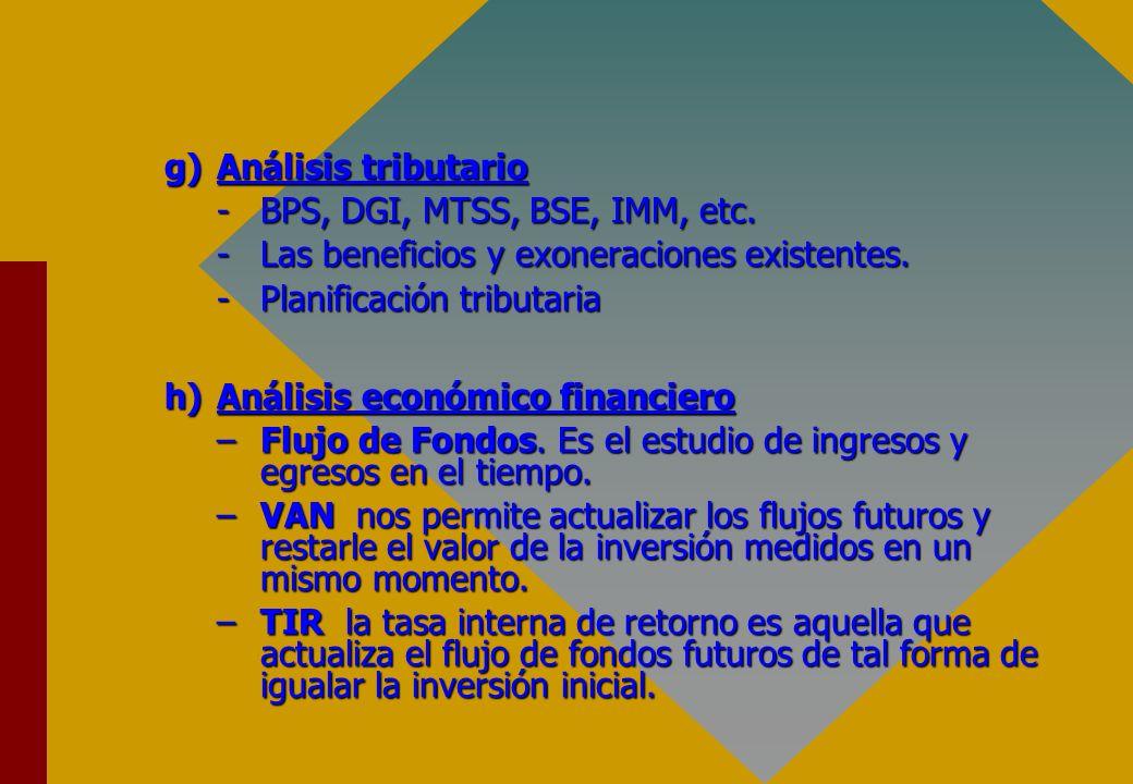 g)Análisis tributario -BPS, DGI, MTSS, BSE, IMM, etc. -Las beneficios y exoneraciones existentes. -Planificación tributaria h)Análisis económico finan