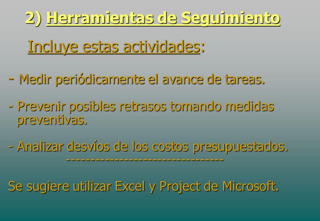 2) Herramientas de Seguimiento Incluye estas actividades: - Medir periódicamente el avance de tareas. - Prevenir posibles retrasos tomando medidas pre