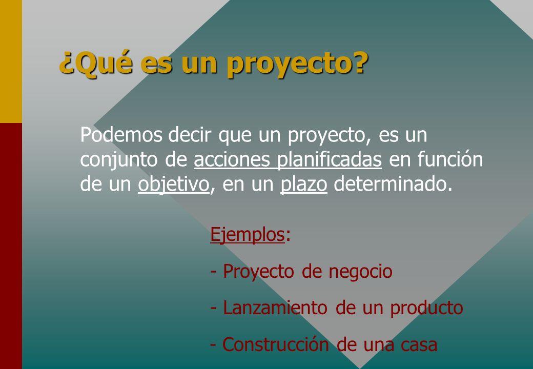 ¿Qué es un proyecto? Podemos decir que un proyecto, es un conjunto de acciones planificadas en función de un objetivo, en un plazo determinado. Ejempl