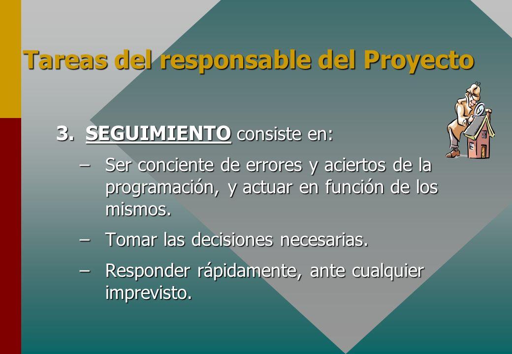 3.SEGUIMIENTO consiste en: –Ser conciente de errores y aciertos de la programación, y actuar en función de los mismos. –Tomar las decisiones necesaria