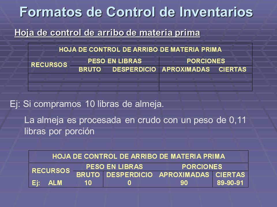 Formatos de Control de Inventarios Hoja de control de arribo de materia prima Ej: Si compramos 10 libras de almeja. La almeja es procesada en crudo co