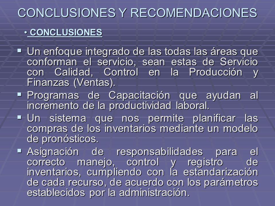 CONCLUSIONES Y RECOMENDACIONES Un enfoque integrado de las todas las áreas que conforman el servicio, sean estas de Servicio con Calidad, Control en l