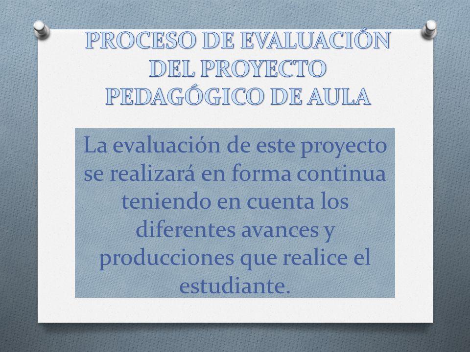 La evaluación de este proyecto se realizará en forma continua teniendo en cuenta los diferentes avances y producciones que realice el estudiante.