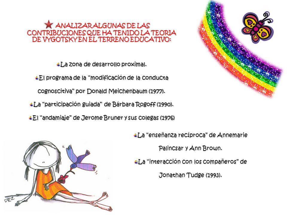 ANALIZAR ALGUNAS DE LAS CONTRIBUCIONES QUE HA TENIDO LA TEORIA DE VYGOTSKY EN EL TERRENO EDUCATIVO: ANALIZAR ALGUNAS DE LAS CONTRIBUCIONES QUE HA TENI
