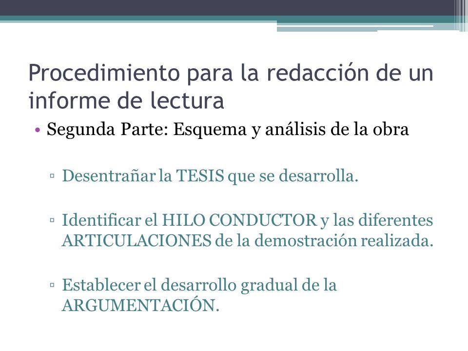 Procedimiento para la redacción de un informe de lectura Segunda Parte: Esquema y análisis de la obra Desentrañar la TESIS que se desarrolla.