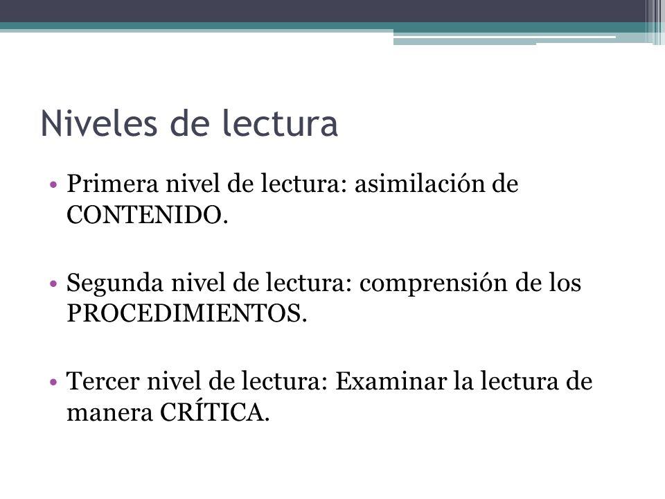 Niveles de lectura Primera nivel de lectura: asimilación de CONTENIDO.