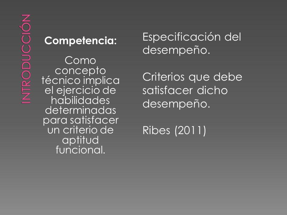 Competencia: Como concepto técnico implica el ejercicio de habilidades determinadas para satisfacer un criterio de aptitud funcional.