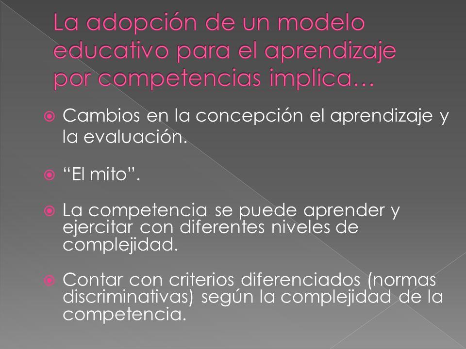 El mito.Cambios en la concepción el aprendizaje y la evaluación.