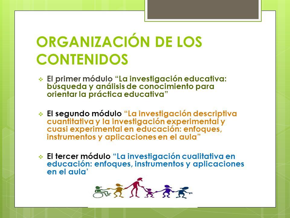 ORGANIZACIÓN DE LOS CONTENIDOS El primer módulo La investigación educativa: búsqueda y análisis de conocimiento para orientar la práctica educativa El