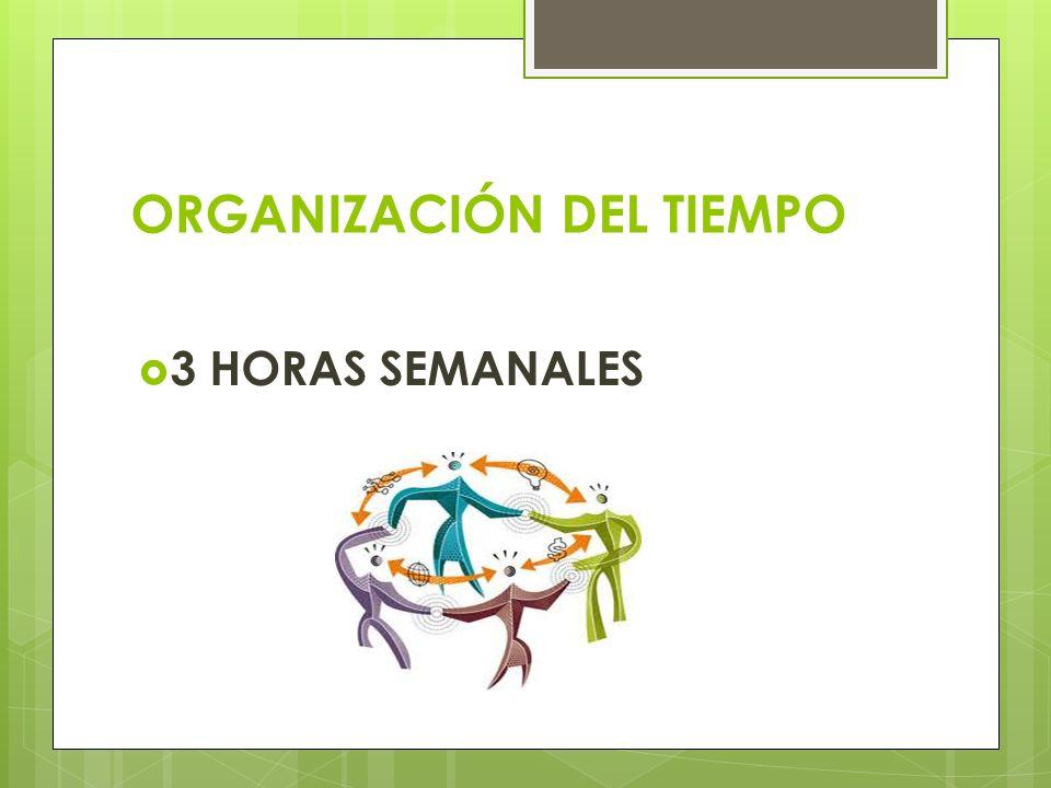 ORGANIZACIÓN DEL TIEMPO 3 HORAS SEMANALES