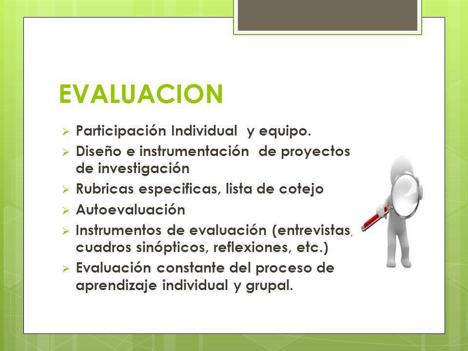 EVALUACION Participación Individual y equipo. Diseño e instrumentación de proyectos de investigación Rubricas especificas, lista de cotejo Autoevaluac
