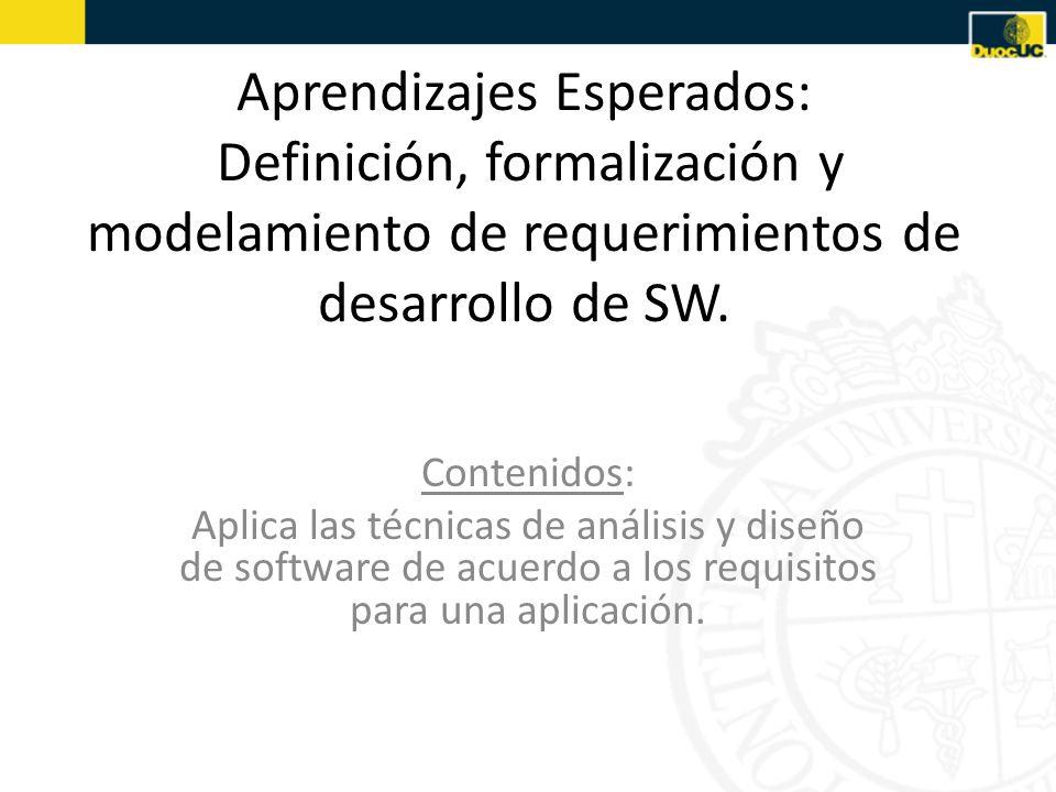 Aprendizajes Esperados: Definición, formalización y modelamiento de requerimientos de desarrollo de SW. Contenidos: Aplica las técnicas de análisis y