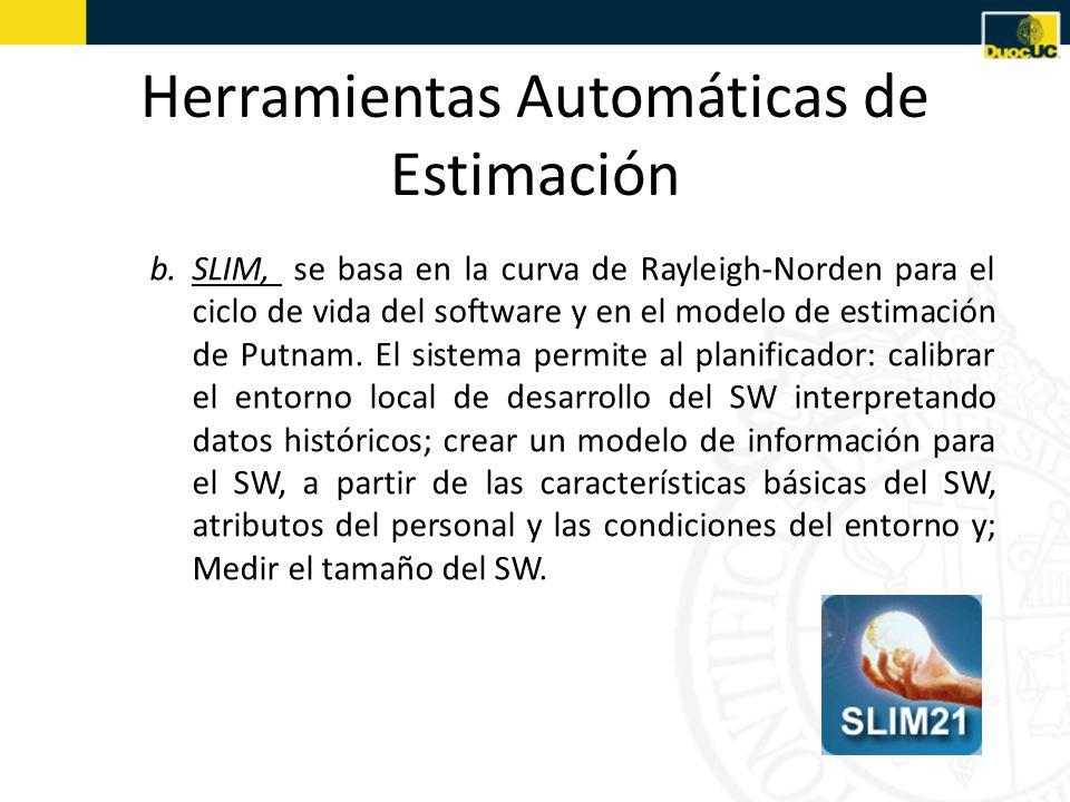 b.SLIM, se basa en la curva de Rayleigh-Norden para el ciclo de vida del software y en el modelo de estimación de Putnam. El sistema permite al planif