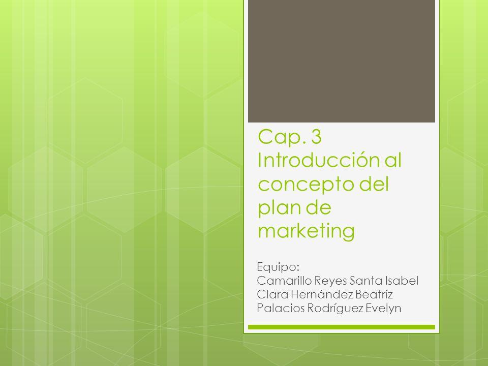Cap. 3 Introducción al concepto del plan de marketing Equipo: Camarillo Reyes Santa Isabel Clara Hernández Beatriz Palacios Rodríguez Evelyn