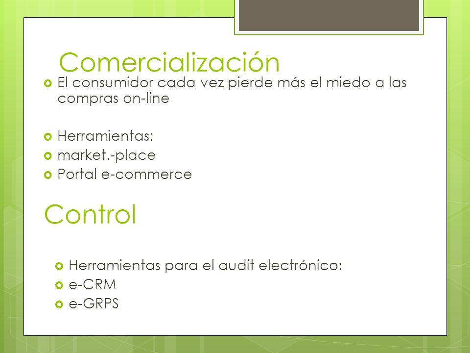 Comercialización El consumidor cada vez pierde más el miedo a las compras on-line Herramientas: market.-place Portal e-commerce Control Herramientas p