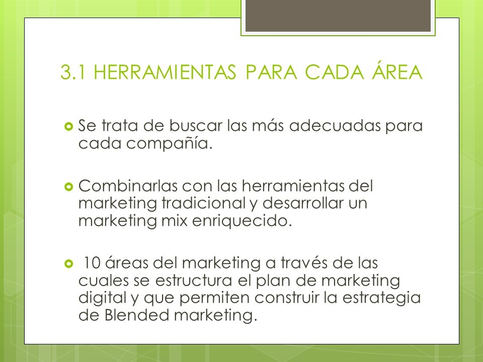 Áreas del marketing Investigación de mercado ( markets e-research) Marca (e-branding) Producto (producto e-marketing) Precio (e-pricing) Comunicación (e-communication) Promoción (e- promotions) Publicidad (e-advertising) Distribución (e-trade marketing) Comercialización (e-commerce) Control (marketing e-audit)