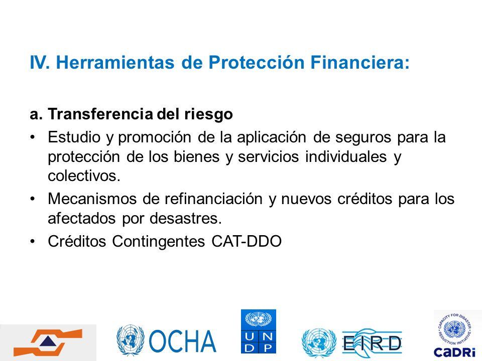 IV. Herramientas de Protección Financiera: a.Transferencia del riesgo Estudio y promoción de la aplicación de seguros para la protección de los bienes