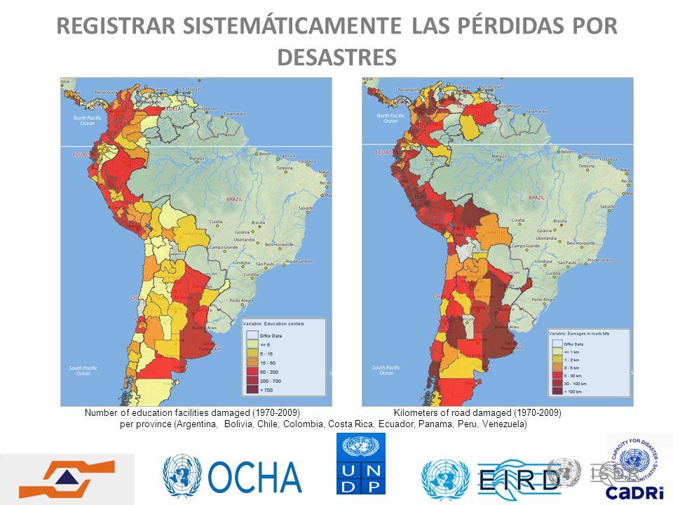 REGISTRAR SISTEMÁTICAMENTE LAS PÉRDIDAS POR DESASTRES Number of education facilities damaged (1970-2009) Kilometers of road damaged (1970-2009) per pr