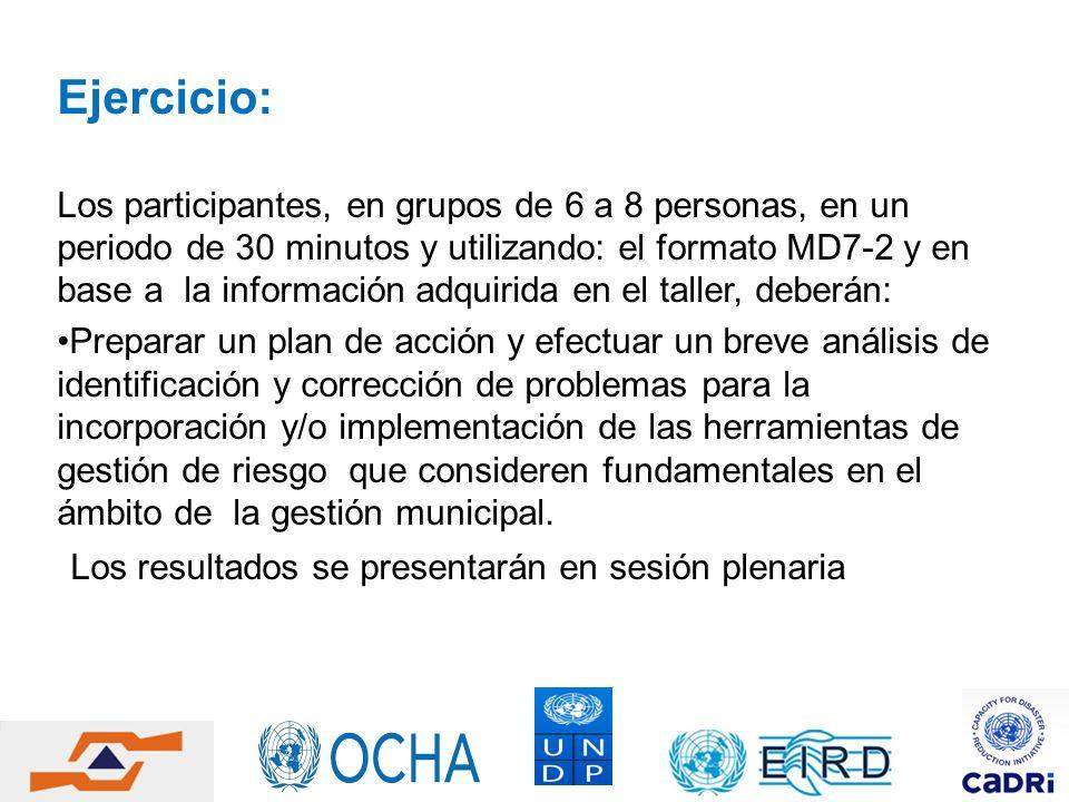 Ejercicio: Los participantes, en grupos de 6 a 8 personas, en un periodo de 30 minutos y utilizando: el formato MD7-2 y en base a la información adqui