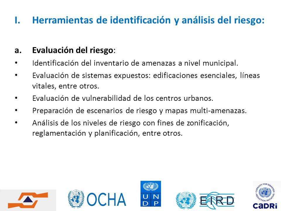 I.Herramientas de identificación y análisis del riesgo: a.Evaluación del riesgo: Identificación del inventario de amenazas a nivel municipal. Evaluaci