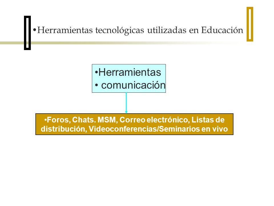 Herramientas comunicación Foros, Chats. MSM, Correo electrónico, Listas de distribución, Videoconferencias/Seminarios en vivo