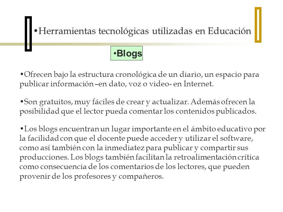 Herramientas tecnológicas utilizadas en Educación Blogs Ofrecen bajo la estructura cronológica de un diario, un espacio para publicar información –en dato, voz o video- en Internet.