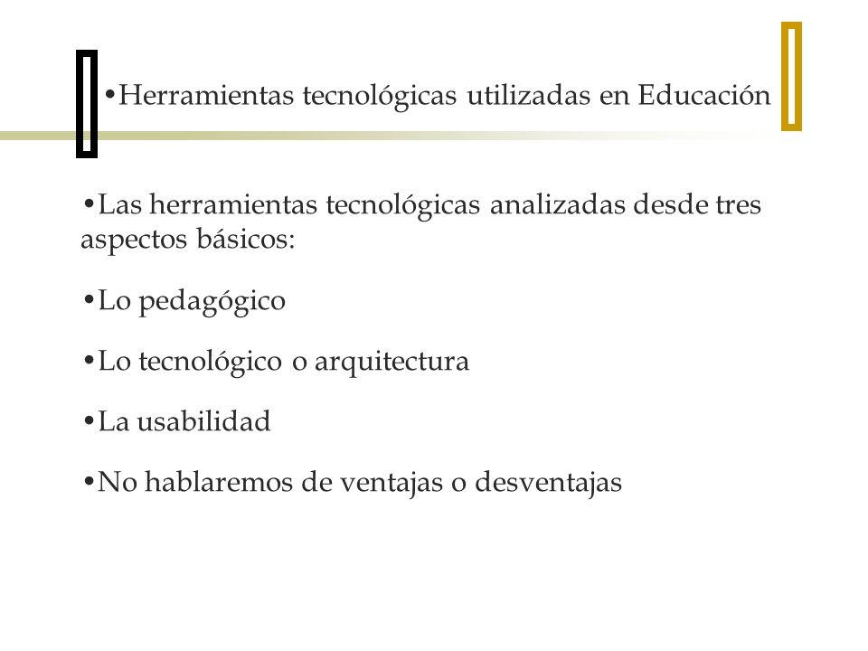 Las herramientas tecnológicas analizadas desde tres aspectos básicos: Lo pedagógico Lo tecnológico o arquitectura La usabilidad No hablaremos de ventajas o desventajas