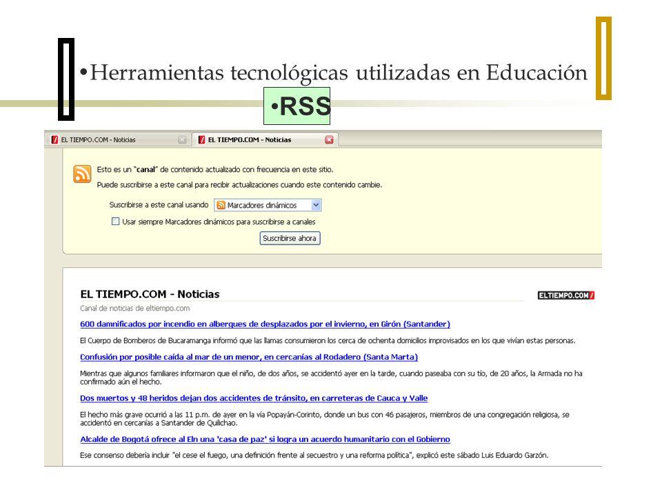 Herramientas tecnológicas utilizadas en Educación RSS