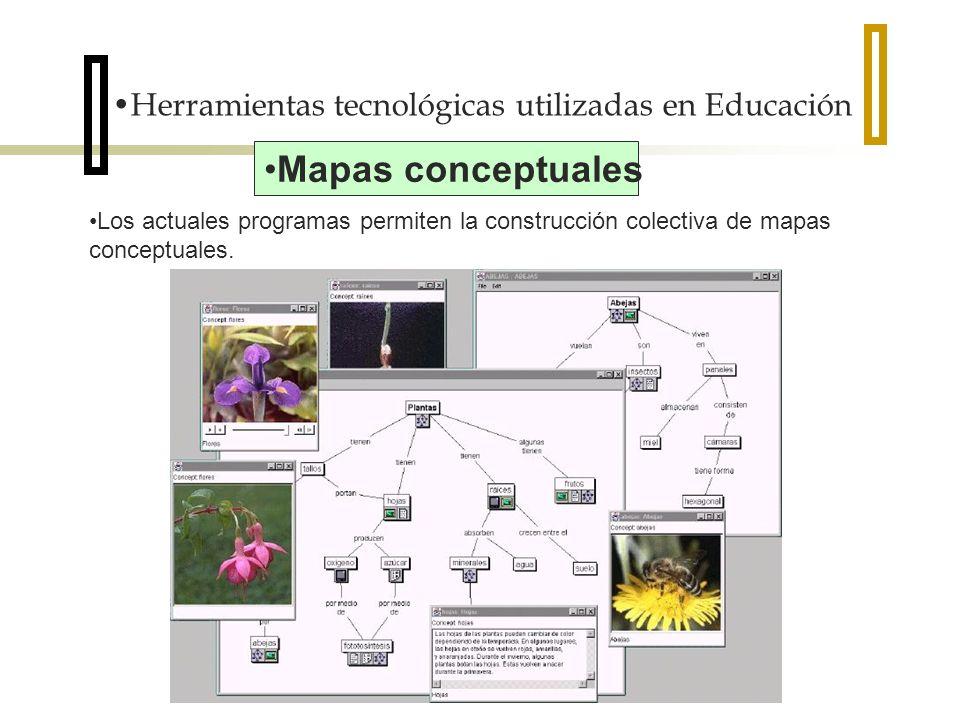 Herramientas tecnológicas utilizadas en Educación Los actuales programas permiten la construcción colectiva de mapas conceptuales. Mapas conceptuales