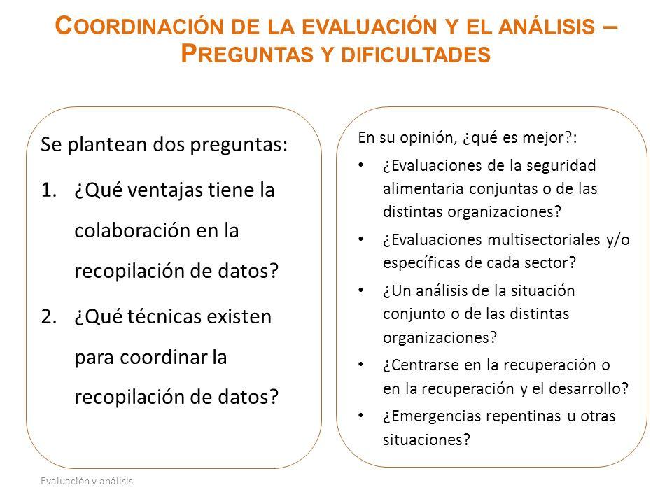 En su opinión, ¿qué es mejor : ¿Evaluaciones de la seguridad alimentaria conjuntas o de las distintas organizaciones.