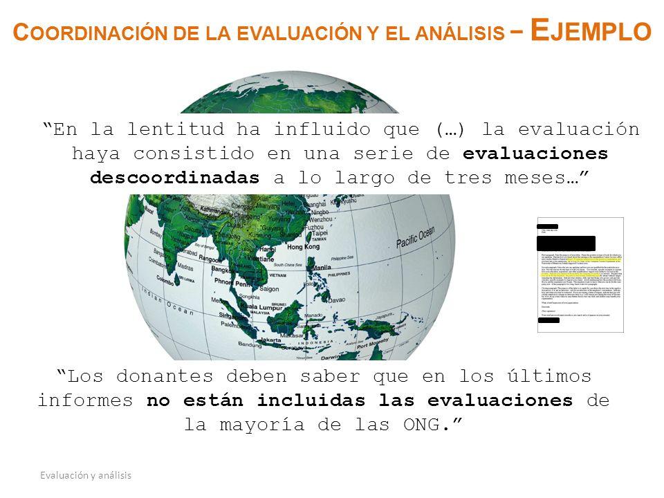 C OORDINACIÓN DE LA EVALUACIÓN Y EL ANÁLISIS E JEMPLO Evaluación y análisis En la lentitud ha influido que (…) la evaluación haya consistido en una serie de evaluaciones descoordinadas a lo largo de tres meses… Los donantes deben saber que en los últimos informes no están incluidas las evaluaciones de la mayoría de las ONG.