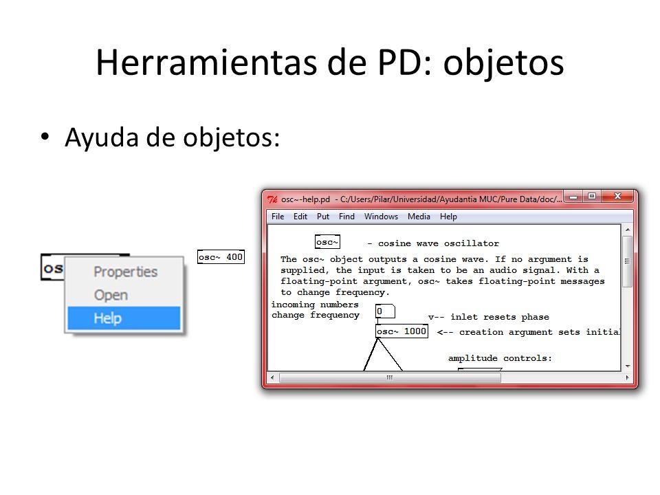 Herramientas de PD: objetos Ayuda de objetos: