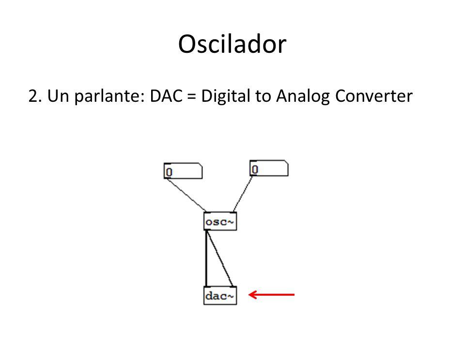 Oscilador 2. Un parlante: DAC = Digital to Analog Converter