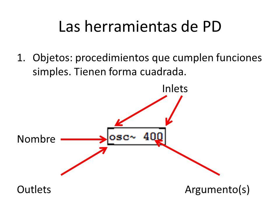 Las herramientas de PD 1.Objetos: procedimientos que cumplen funciones simples. Tienen forma cuadrada. Inlets Nombre OutletsArgumento(s)