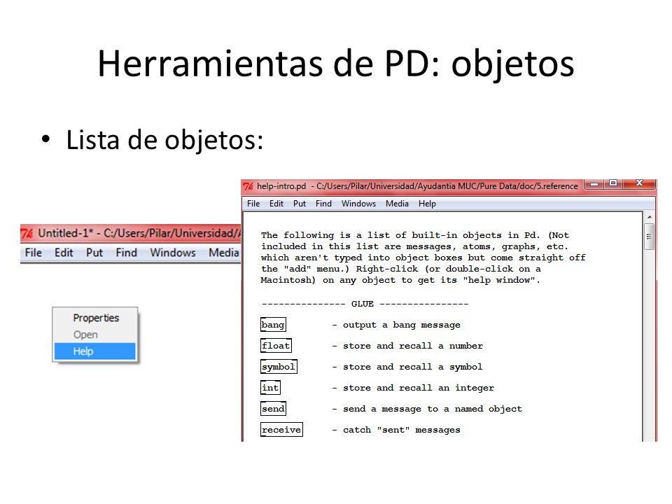 Herramientas de PD: objetos Lista de objetos: