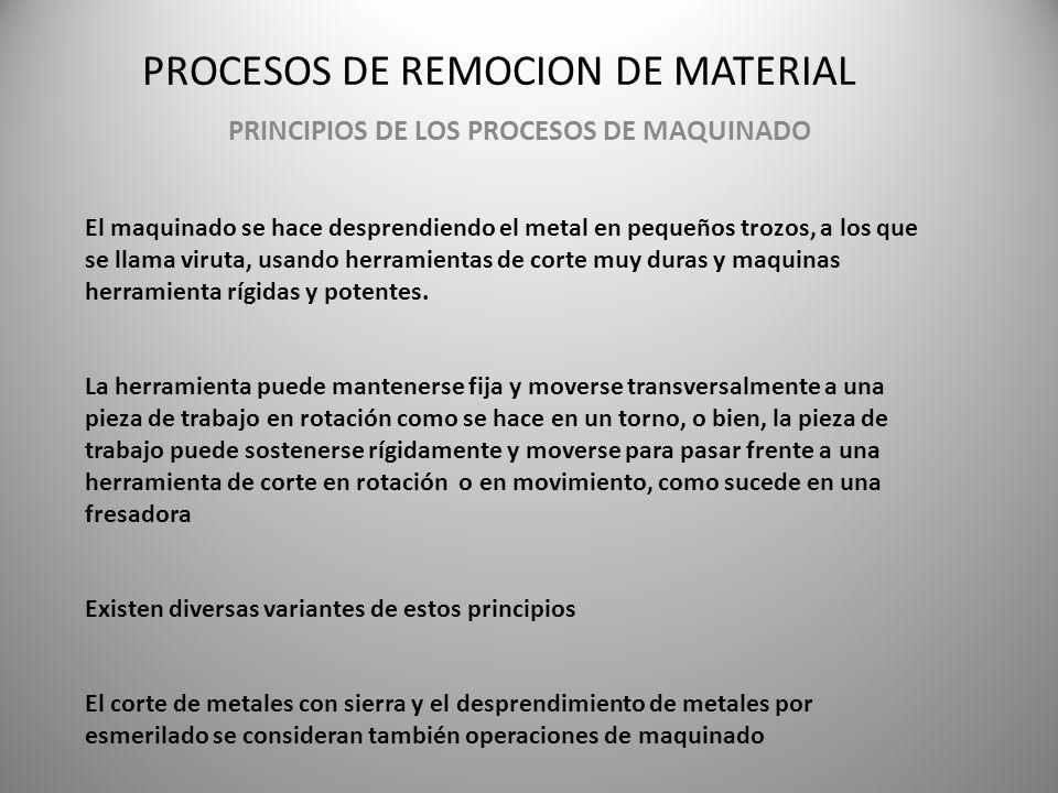 PROCESOS DE REMOCION DE MATERIAL PRINCIPIOS DE LOS PROCESOS DE MAQUINADO El maquinado se hace desprendiendo el metal en pequeños trozos, a los que se