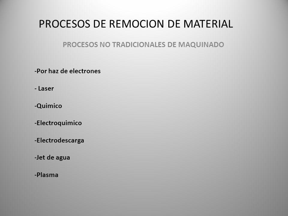 PROCESOS DE REMOCION DE MATERIAL PROCESOS NO TRADICIONALES DE MAQUINADO -Por haz de electrones - Laser -Quimico -Electroquimico -Electrodescarga -Jet