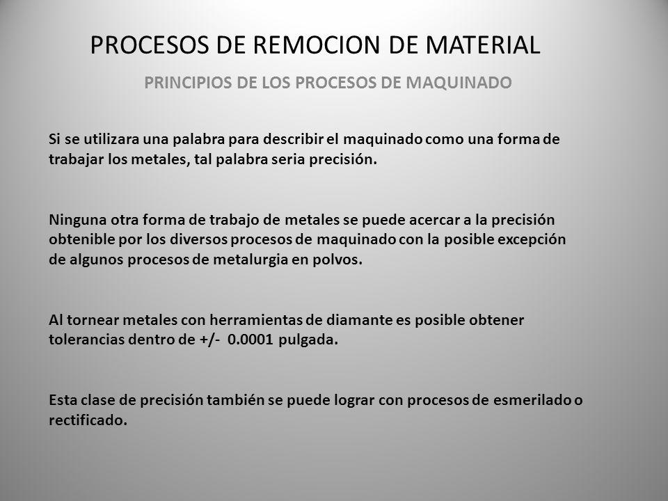 PROCESOS DE REMOCION DE MATERIAL PRINCIPIOS DE LOS PROCESOS DE MAQUINADO Si se utilizara una palabra para describir el maquinado como una forma de tra