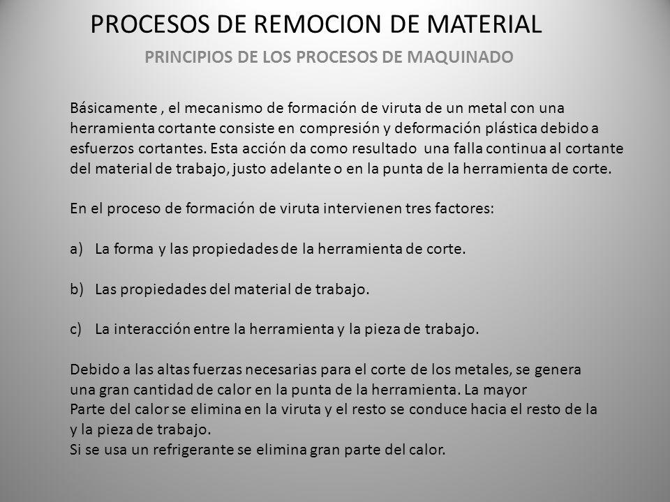 PROCESOS DE REMOCION DE MATERIAL PRINCIPIOS DE LOS PROCESOS DE MAQUINADO Básicamente, el mecanismo de formación de viruta de un metal con una herramie
