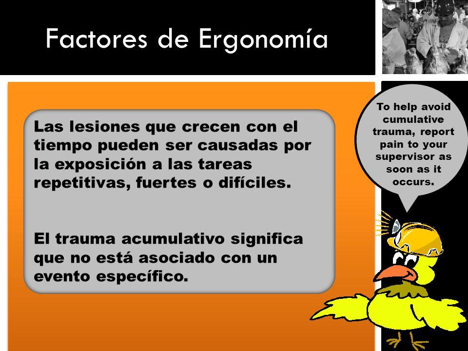 Factores de Ergonomía To help avoid cumulative trauma, report pain to your supervisor as soon as it occurs. Las lesiones que crecen con el tiempo pued