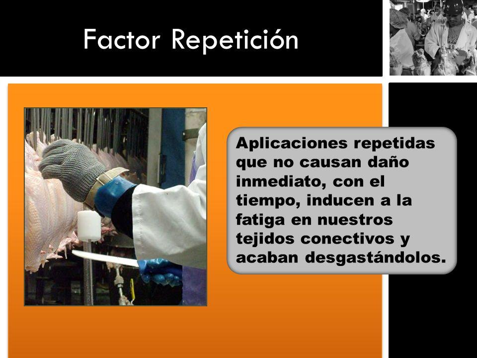 Factor Repetición Aplicaciones repetidas que no causan daño inmediato, con el tiempo, inducen a la fatiga en nuestros tejidos conectivos y acaban desg