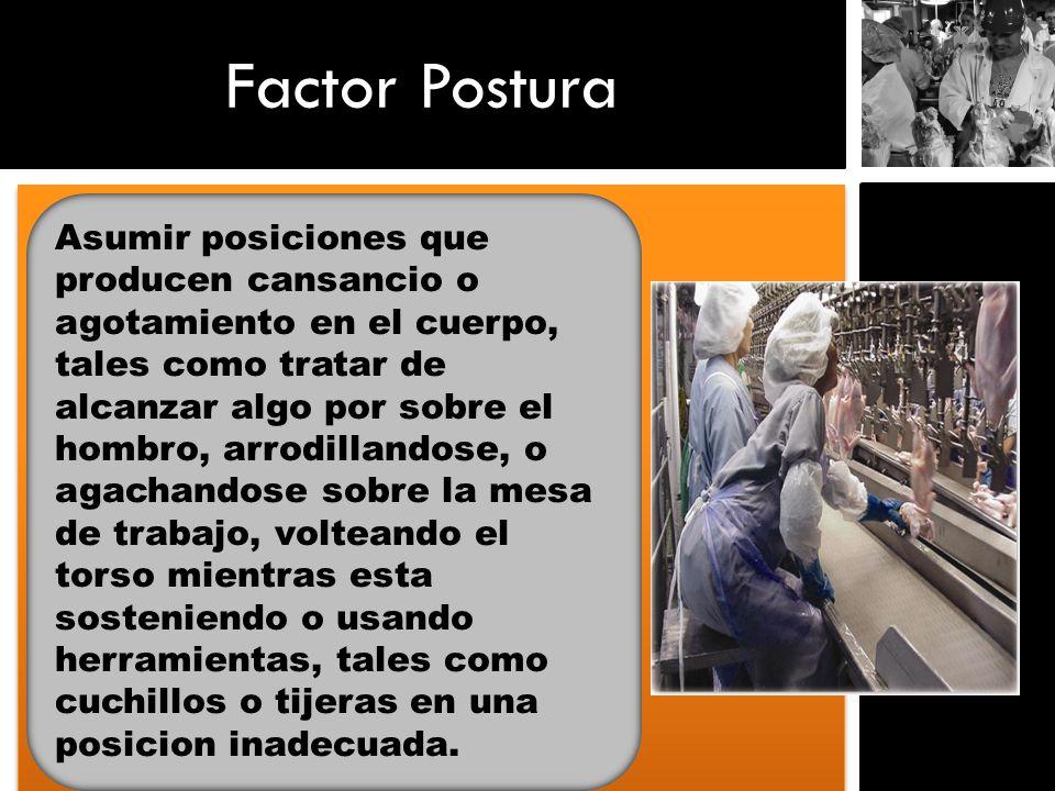 Factor Postura Asumir posiciones que producen cansancio o agotamiento en el cuerpo, tales como tratar de alcanzar algo por sobre el hombro, arrodillan