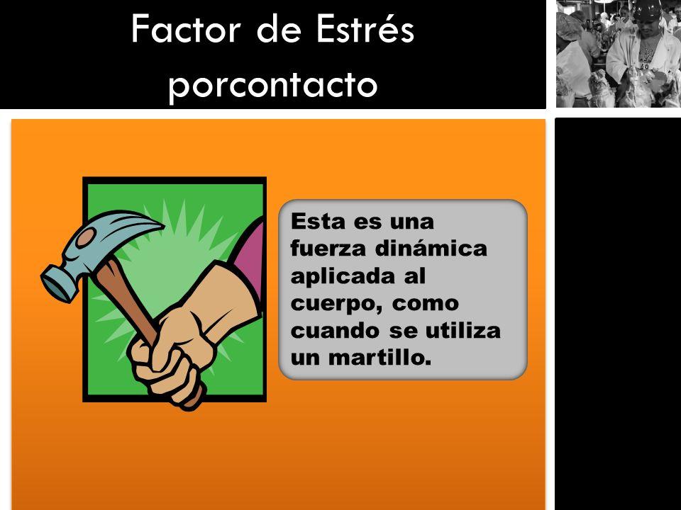 Factor de Estrés porcontacto Esta es una fuerza dinámica aplicada al cuerpo, como cuando se utiliza un martillo.
