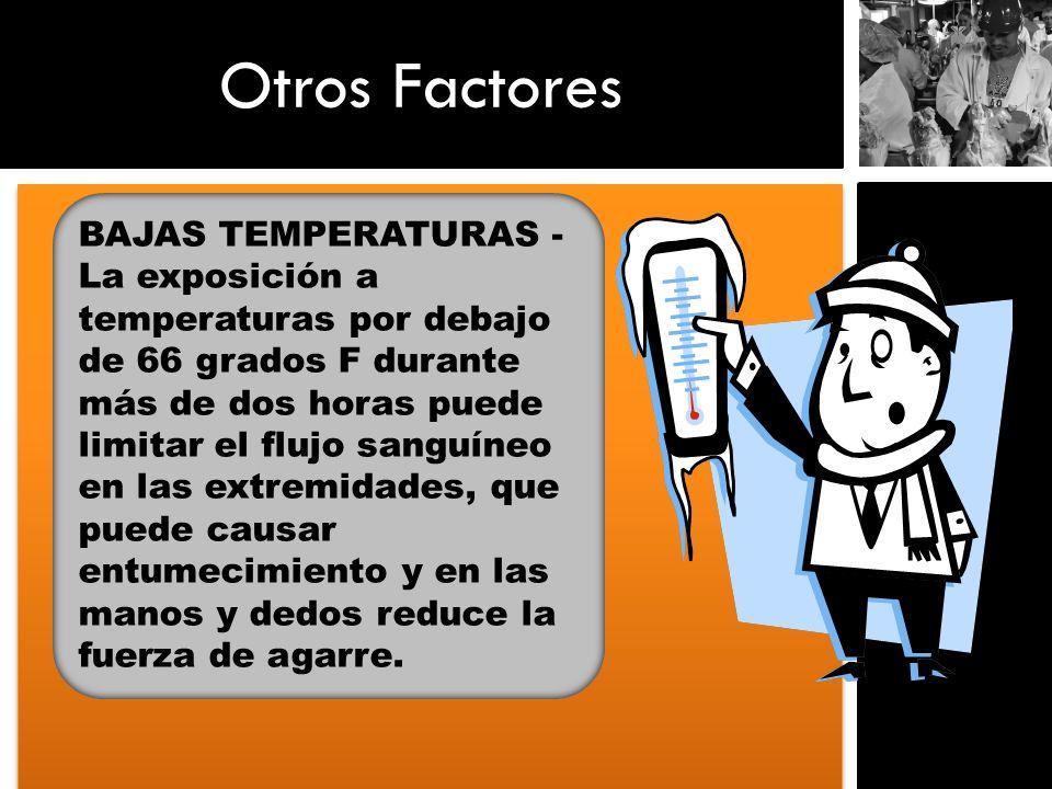 Otros Factores BAJAS TEMPERATURAS - La exposición a temperaturas por debajo de 66 grados F durante más de dos horas puede limitar el flujo sanguíneo e