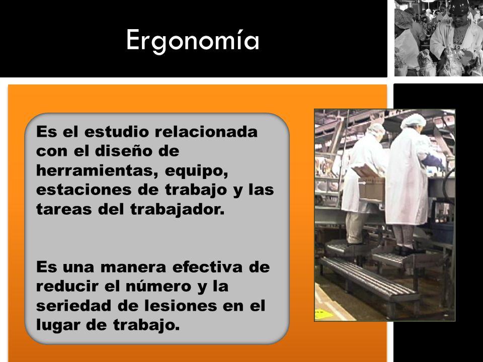 Ergonomía Es el estudio relacionada con el diseño de herramientas, equipo, estaciones de trabajo y las tareas del trabajador. Es una manera efectiva d